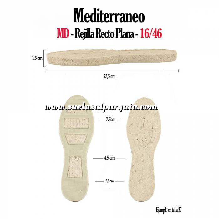 Imagen Mediterráneo MD Suela Rejilla Recta Plana Niño - Talla 17